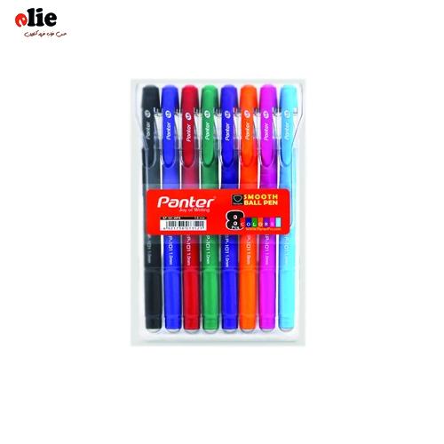 خودکار 1 میل رنگی پنتر ست 8 عددی