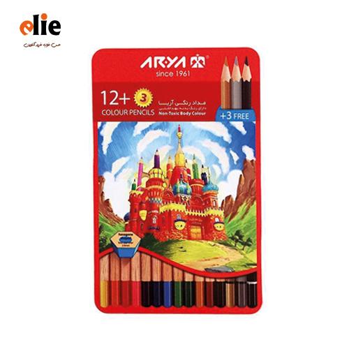 مداد رنگی 12 رنگ آریا جعبه فلزی