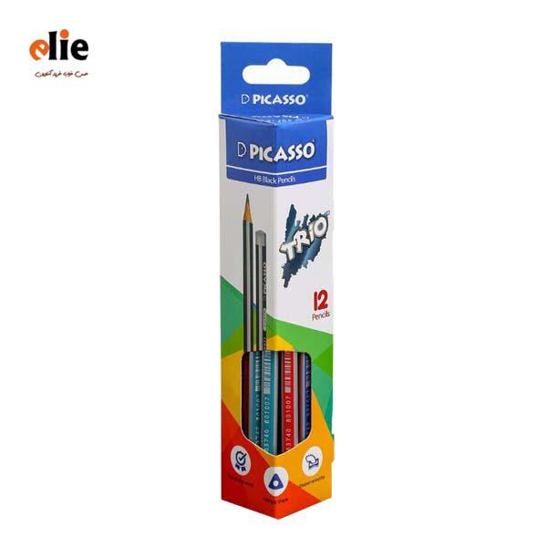 مداد مشکی پیکاسو سه پهلو مدل تریو بسته 12 عددی