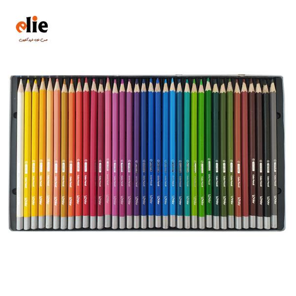 مداد رنگی 36 رنگ جعبه فلزی لوکی طرح ماشین